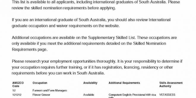 South Australia updated State Nominated Occupation List for 2019/2020