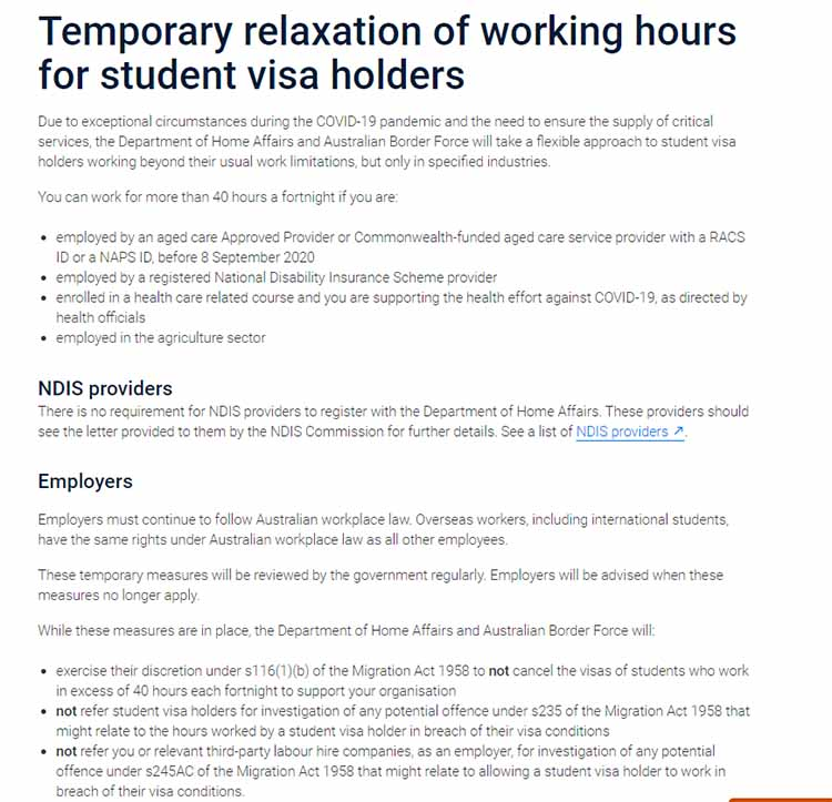 Work condition relaxed for international students working aged care, disability, health, and agriculture - NepaliPage