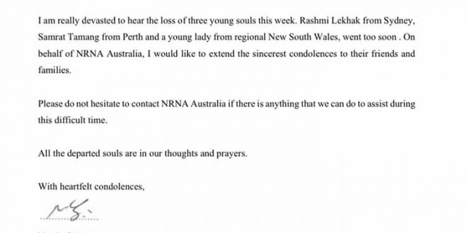 Three Nepalese lost life in Australia within a week